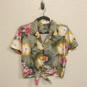 Cropped Hawaiian Button Down with Tie Front